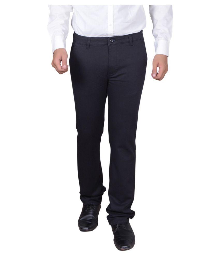 Capy Black Regular Flat Trouser