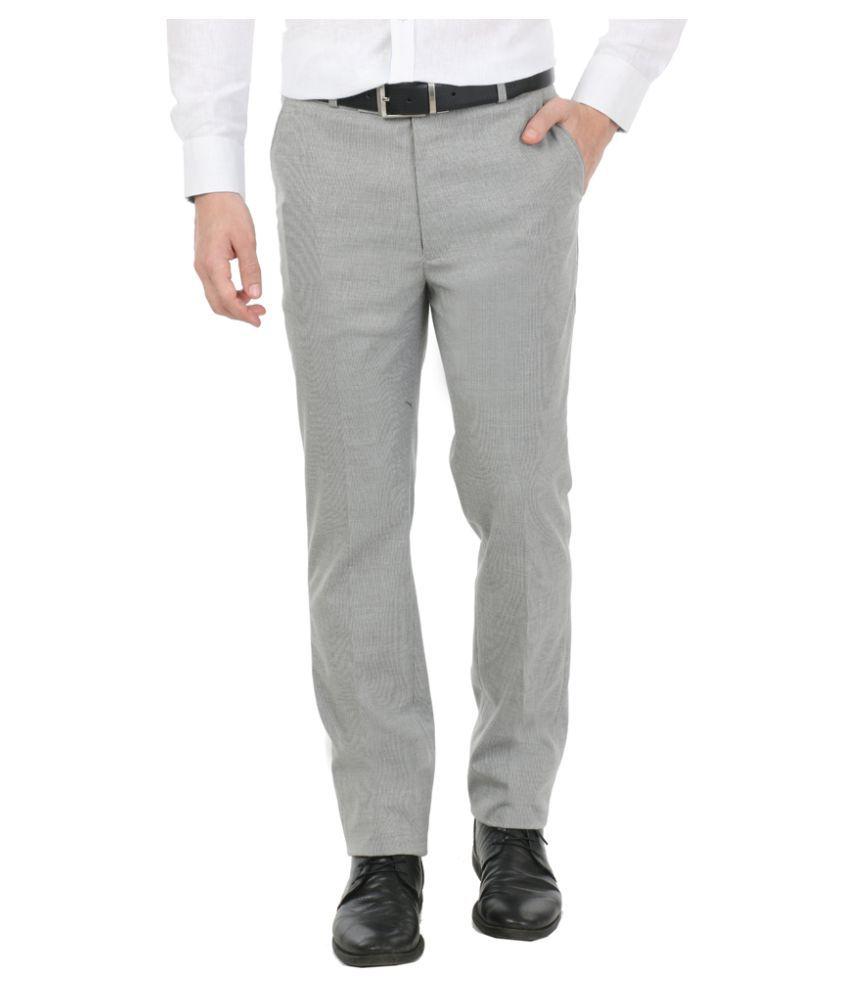 Zido Grey Regular Flat Trouser