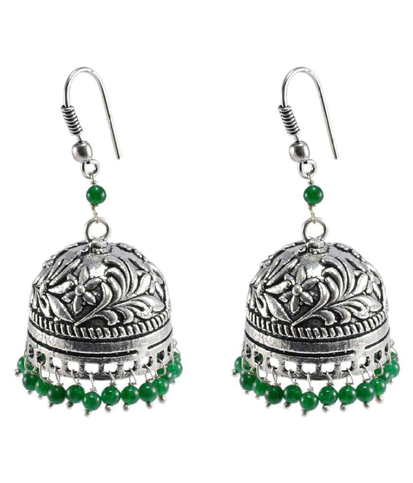 Silvesto India Crystal Studded Multicolor Jhumki