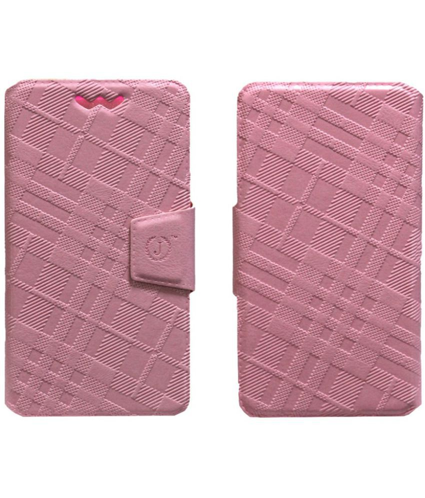 Xolo A800 Flip Cover by Jojo   Pink available at SnapDeal for Rs.590