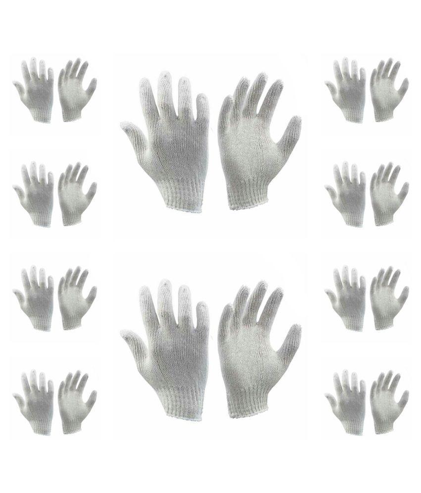 Safety White Cotton Hand Gloves 10 Pair
