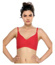 Clovia Red Cotton Lycra T-Shirt/ Seamless Bra