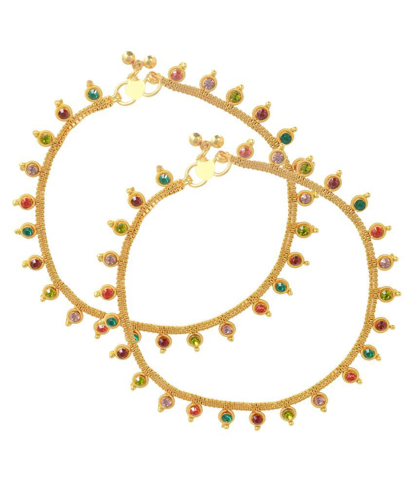 Memoir Gold plated Red and Green stone studded rich look Wedding bridal Jewellery anklet for Women