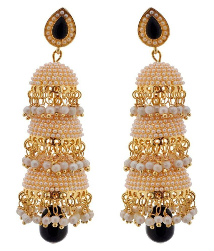 Shining Diva Multicolour Traditional Pearl Jewellery Stylish Fancy Party Wear Jhumka / Jhumki Earrings for Girls and Women