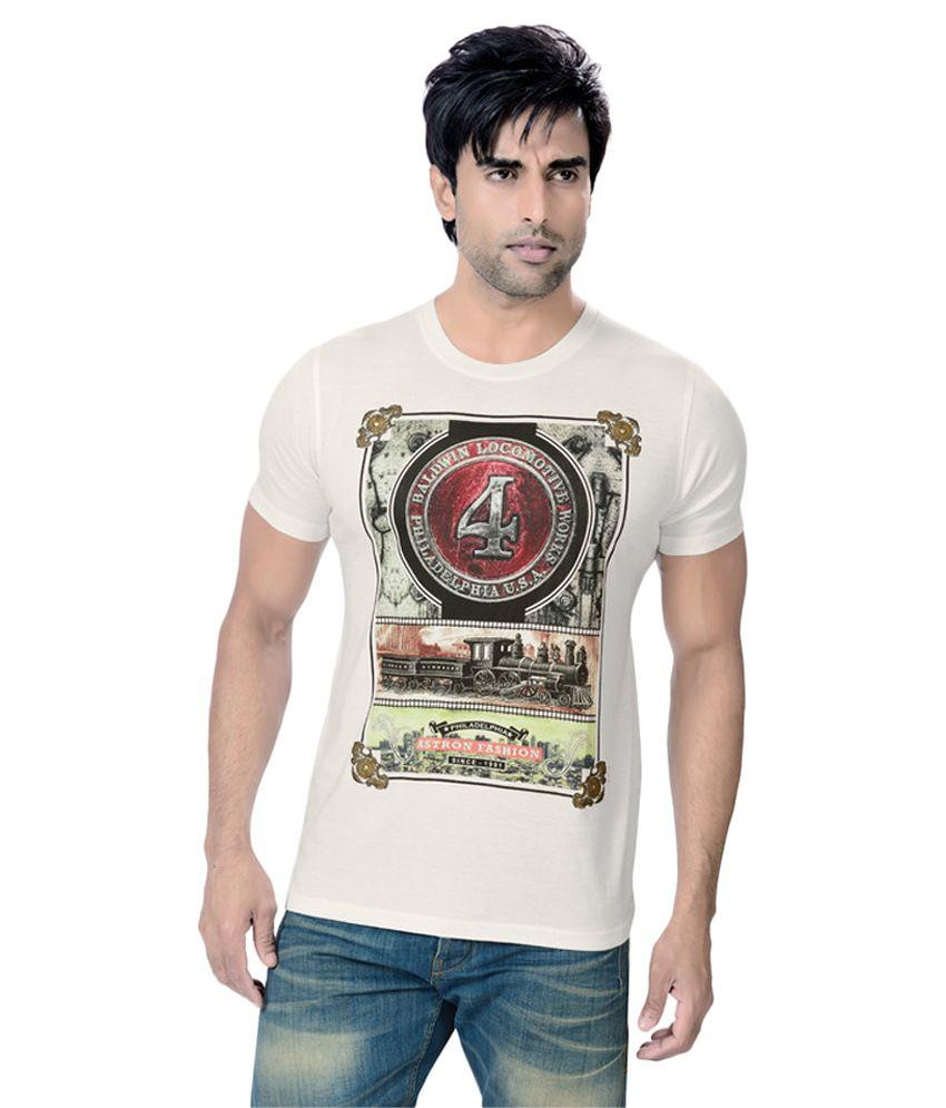 Astron White Round T-Shirt