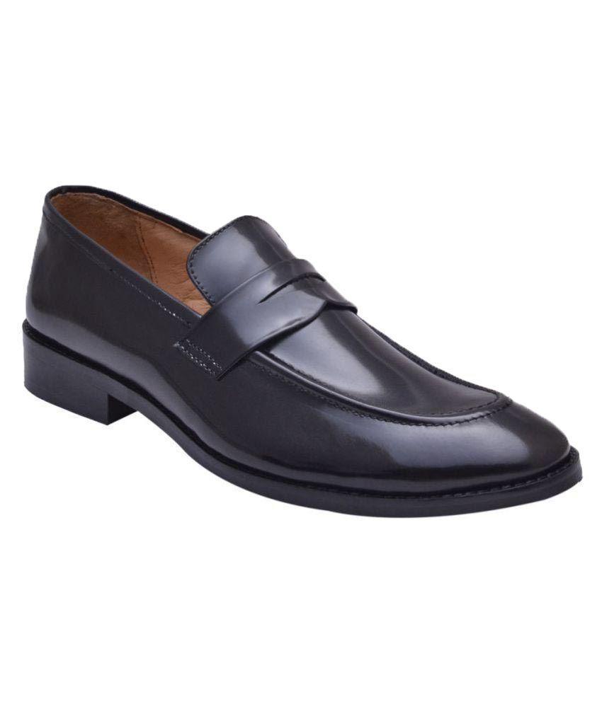 HiREL'S Black Slip On Genuine Leather Formal Shoes