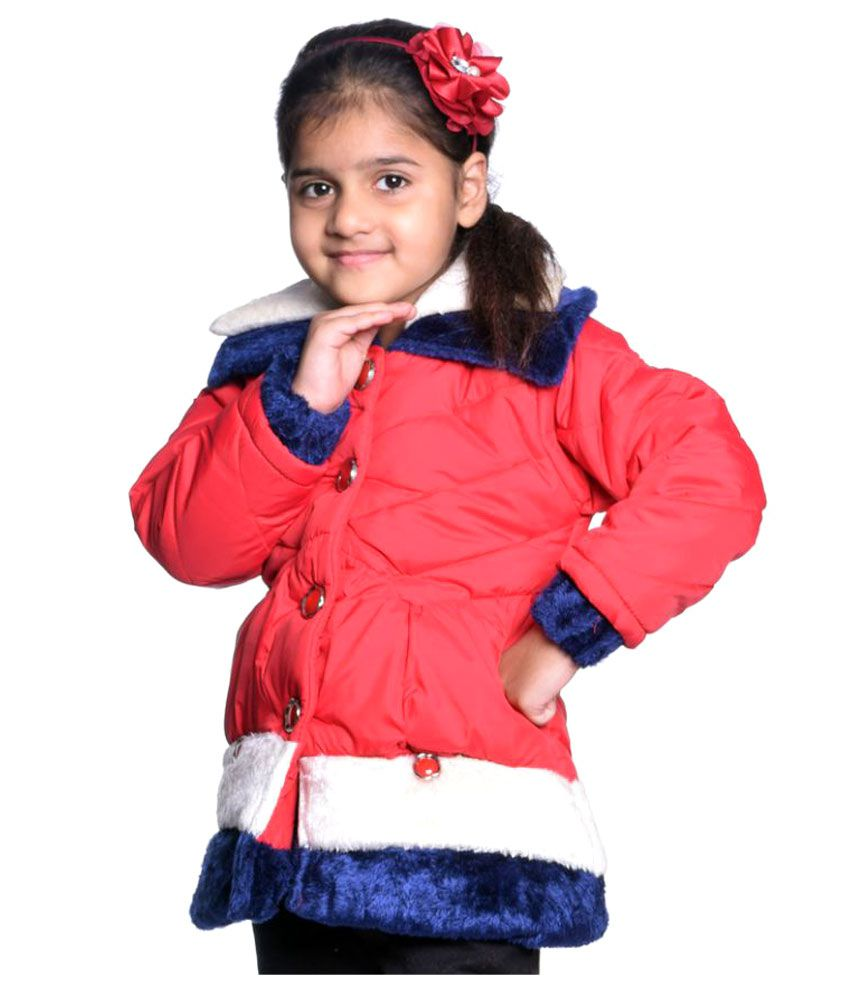 Come In Kids Red Polyester Girl's Solid Jacket