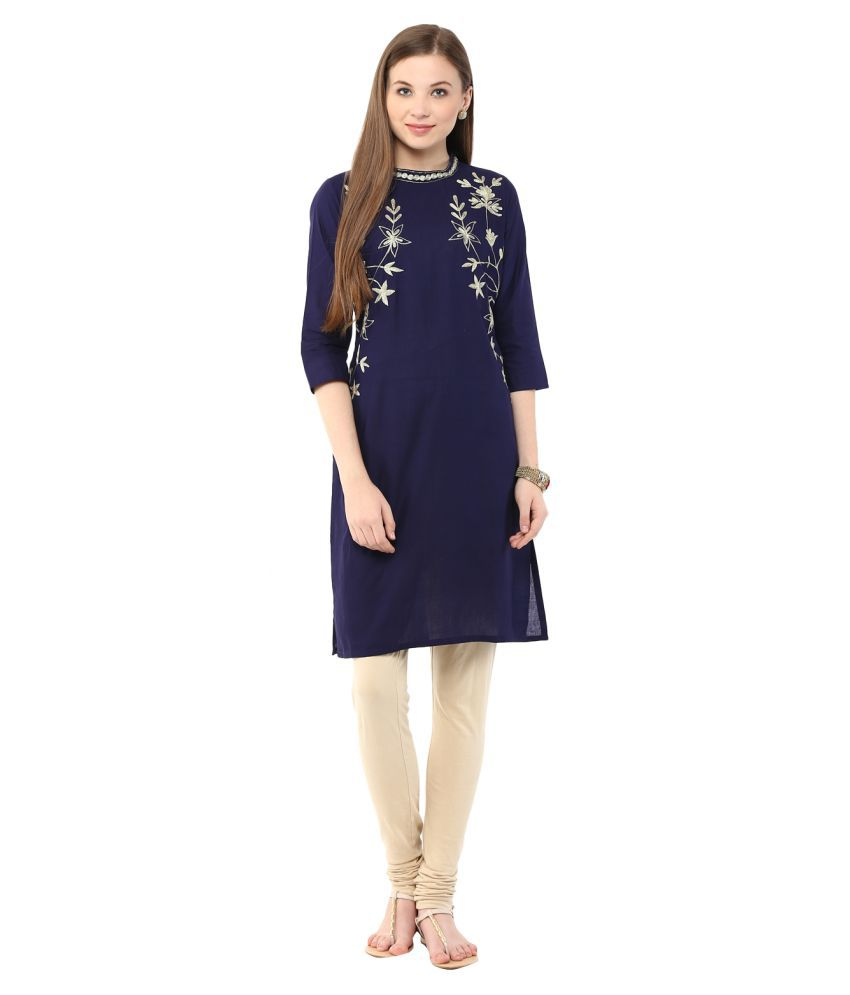 Aois Blue Cotton Straight Kurti