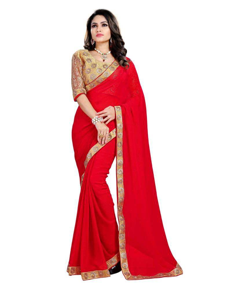 Suchi Fashion Red Georgette Saree