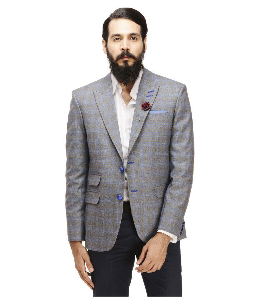 Monteil & Munero Grey Checks Casual Blazers