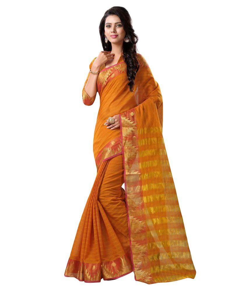 SHREEJI FASHION Orange Tussar Silk Saree
