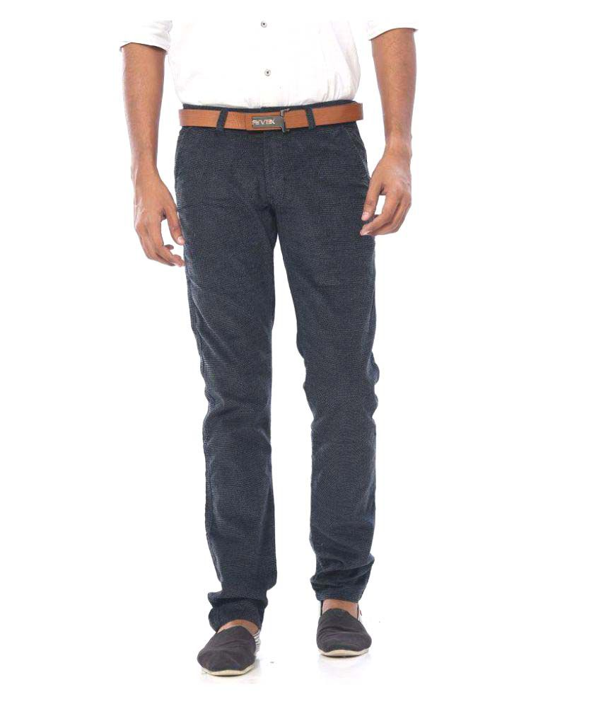 Rivex Black Regular Flat Trouser