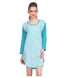 Clovia Blue Cotton Night T-Shirt
