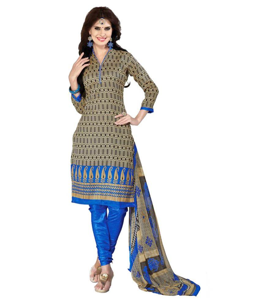 SnowFall Brown Chanderi Dress Material