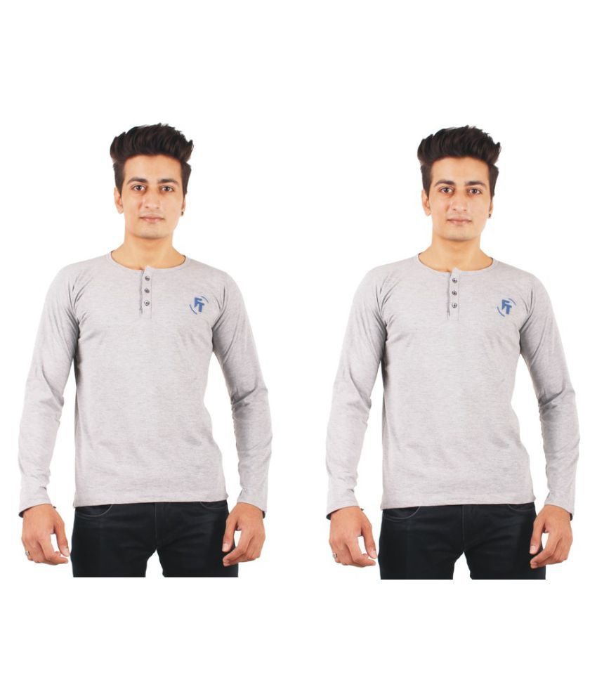 FTrick Grey Henley T-Shirt Pack of 2