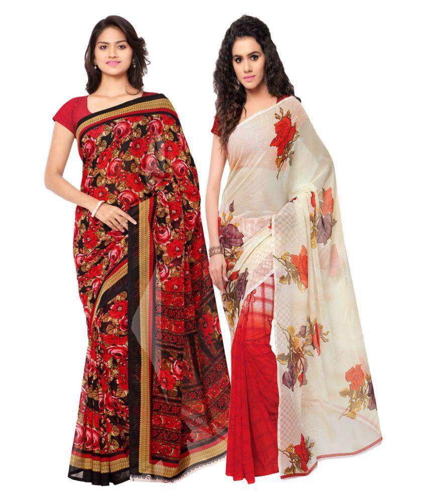 Suchi Fashion Multicoloured Georgette Saree Combos