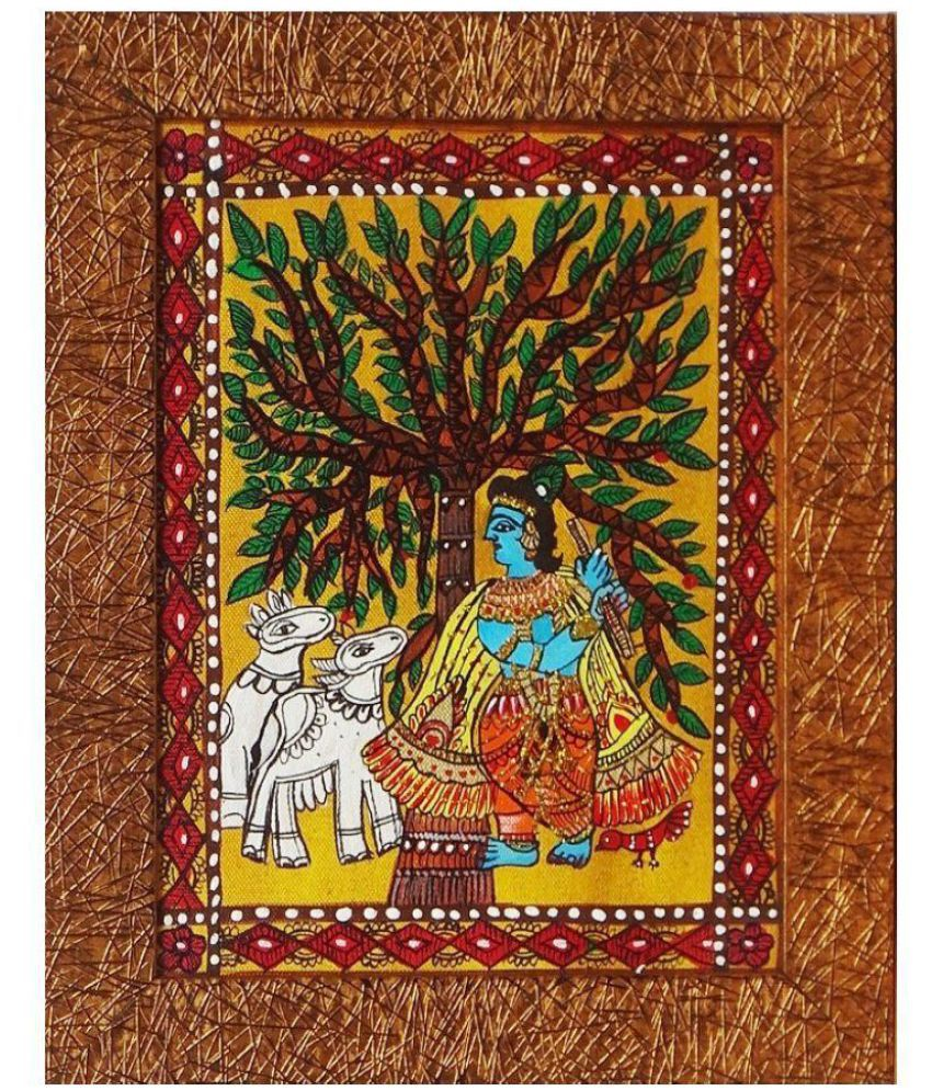 Amazing Collections Handmade MAdhubani Painting on Canvas With Frame