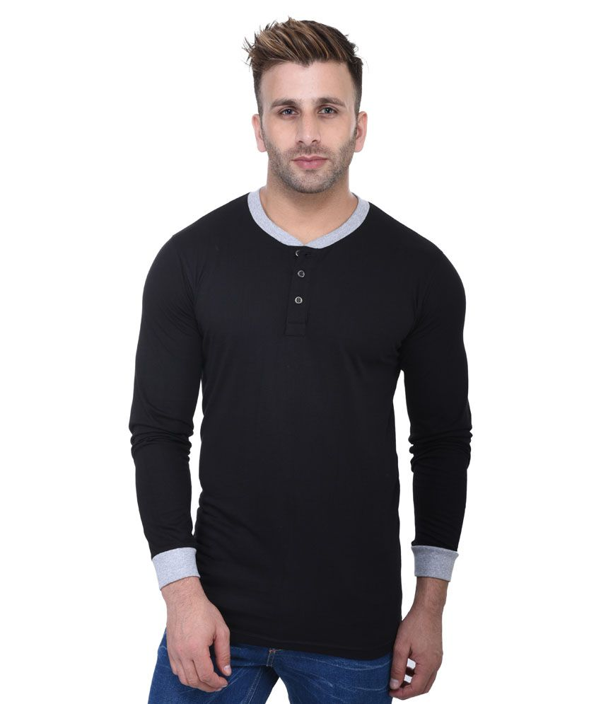 Fastcolors Black Henley T-Shirt