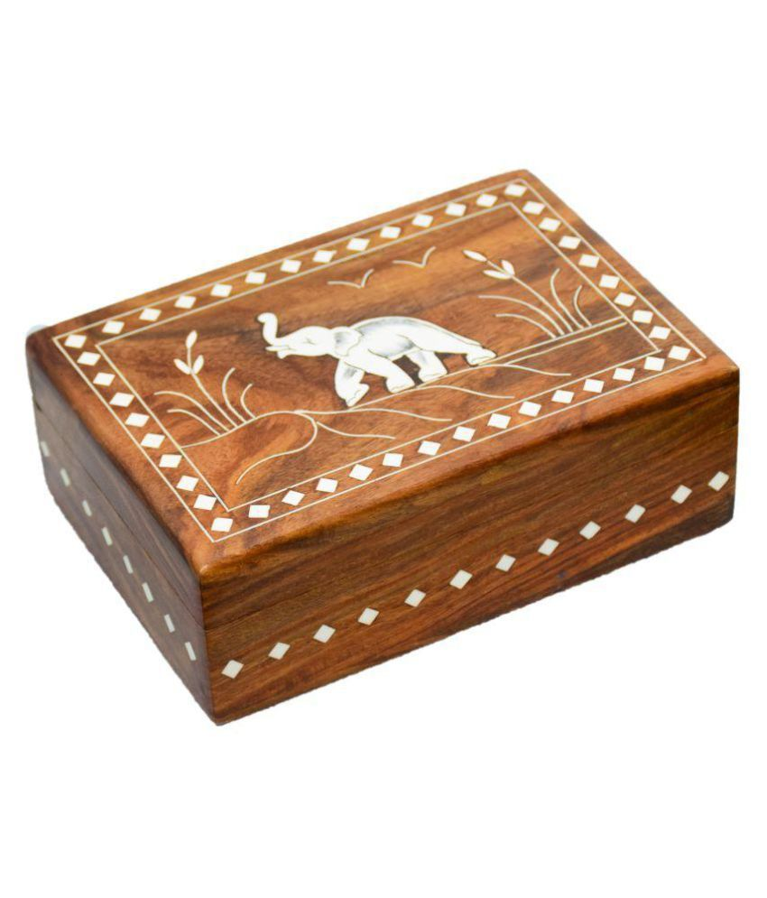 ARZ Brown Wooden Jewelry Storage Box