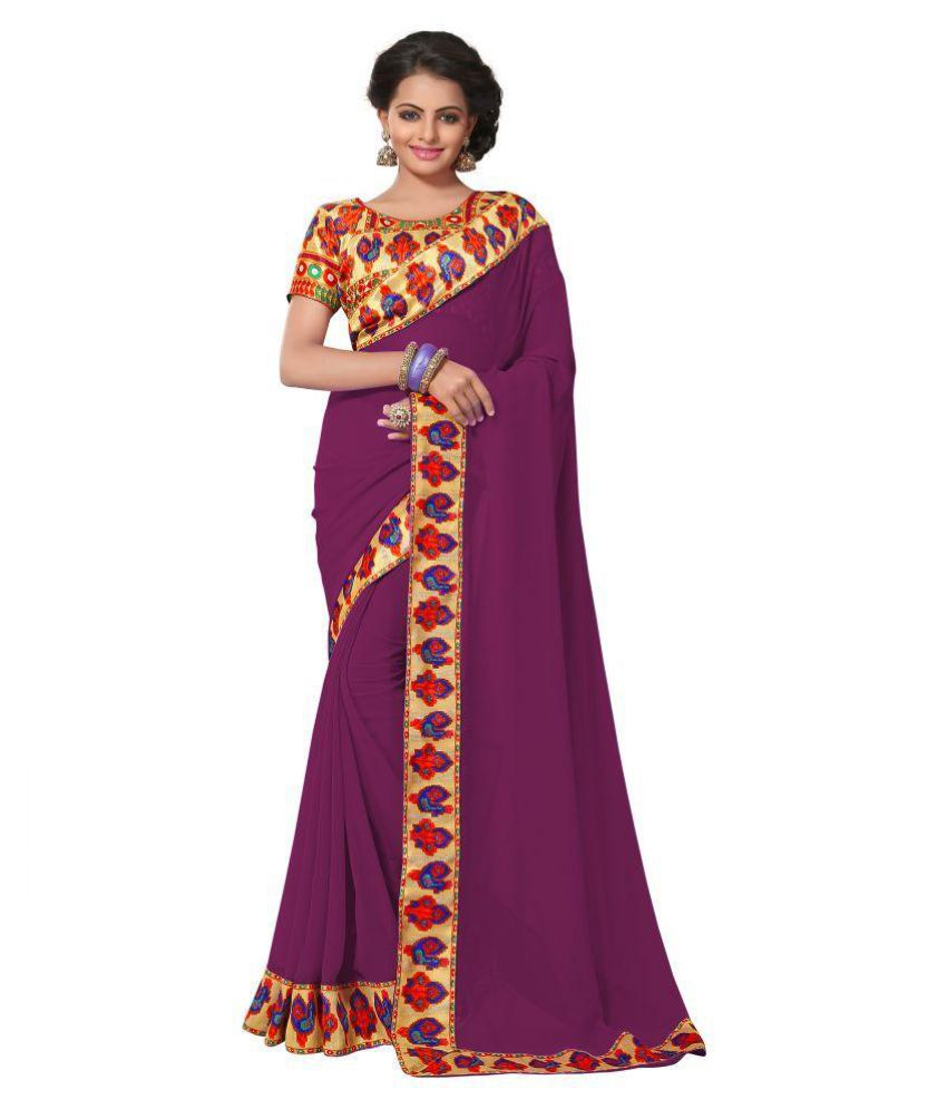 Eshwari Creation Purple Georgette Saree