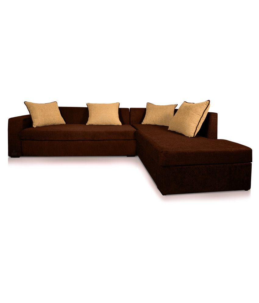 Dolphin CAIRO L-Shape-Left Fabric Sofa Set-Brown-Beige