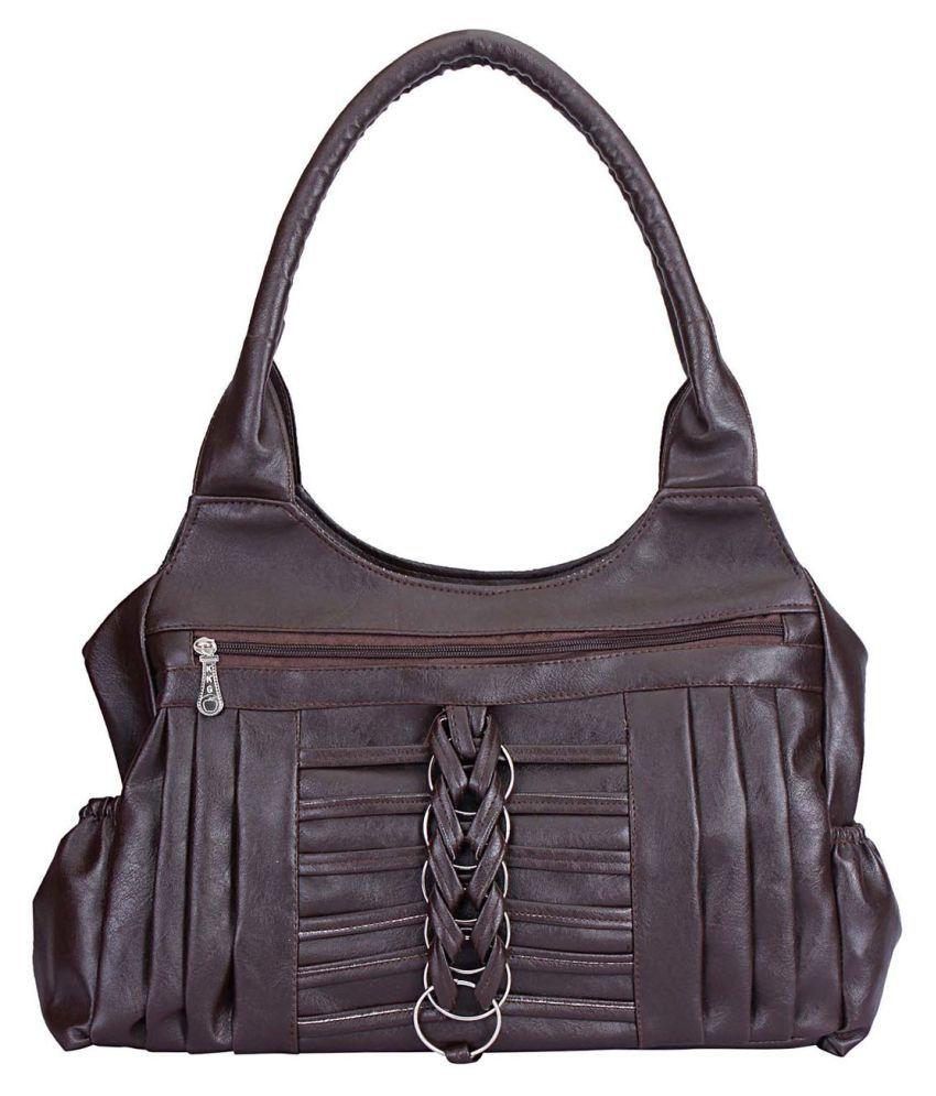Maeva Brown Artificial Leather Handheld