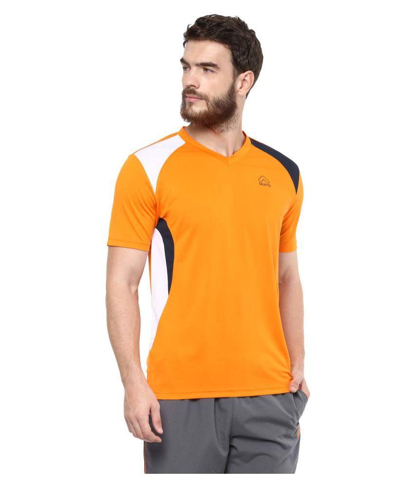Aurro Sports Orange V-Neck T-Shirt