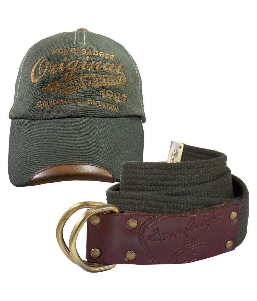 HoneyBadger Green Canvas Casual Belts With Baseball Cap