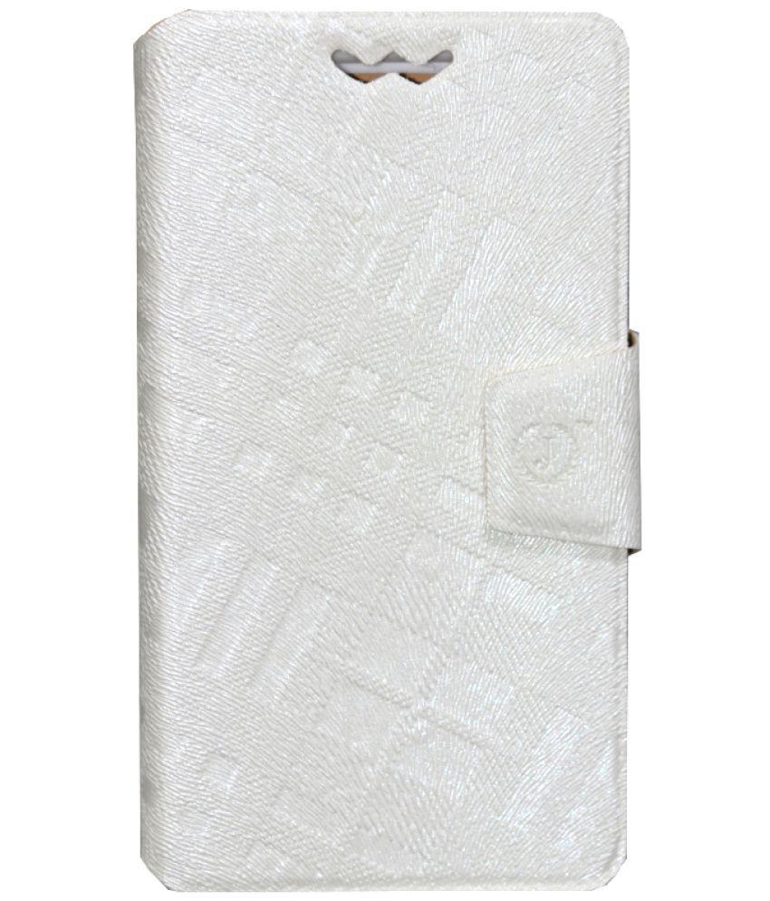 Gionee Pioneer P5L Flip Cover by Jojo - White