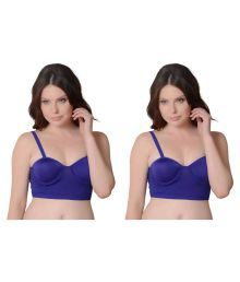 Bahucharaji Creation Blue Cotton Lycra T-Shirt/ Seamless Bra