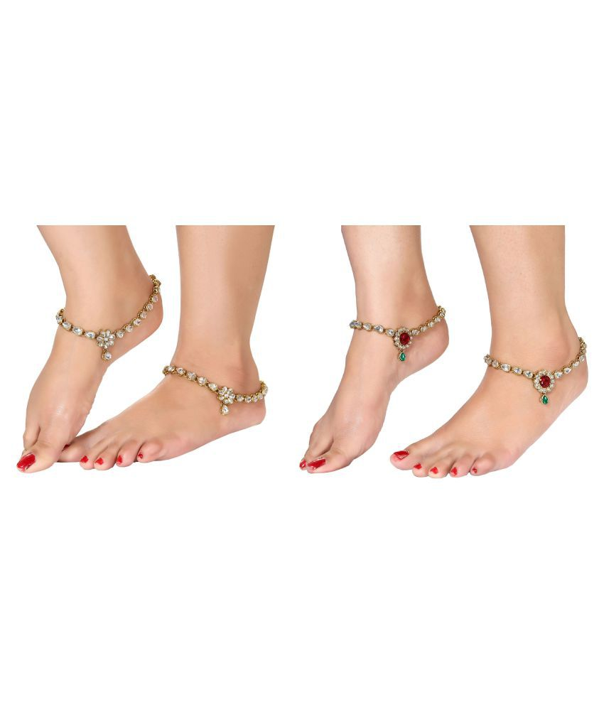 Charms Multicolour Alloy Anklets Payal Combo