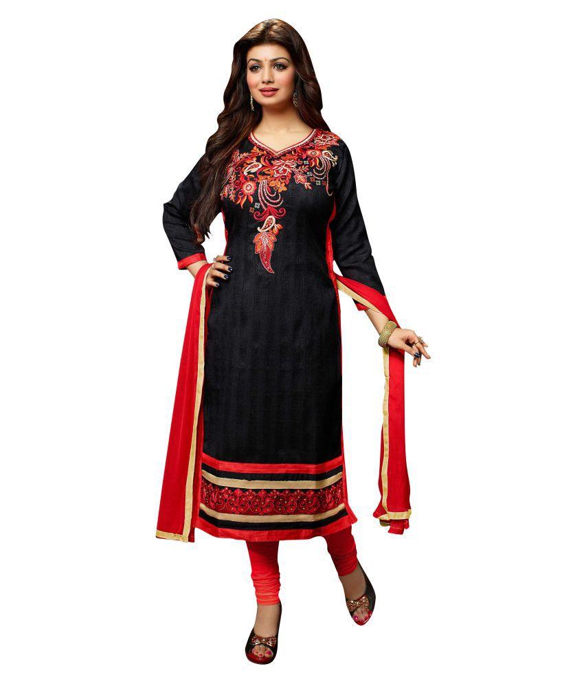 Hasti Urmilla Black Bhagalpuri Silk Dress Material