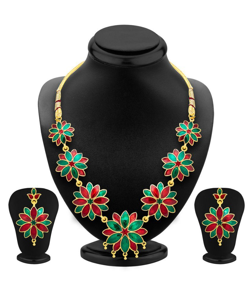 Shostopper Multicolour Blossomy Gold Plated Meenakari Necklace Set