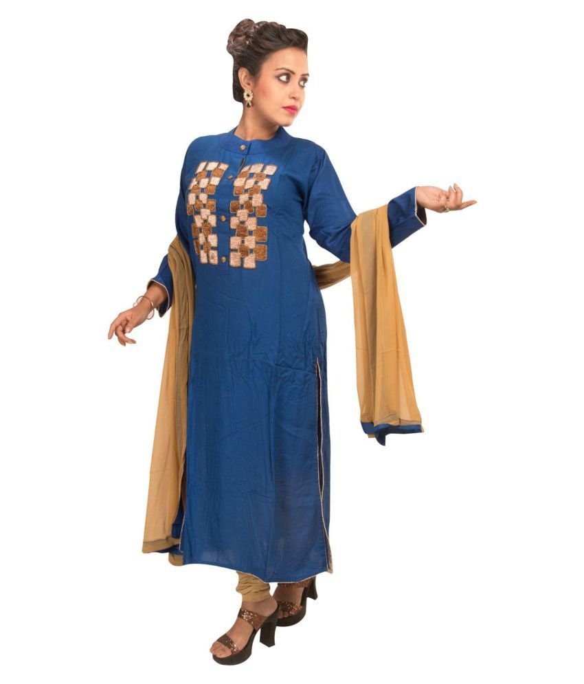 Sharmili Blue Rayon Straight Stitched Suit