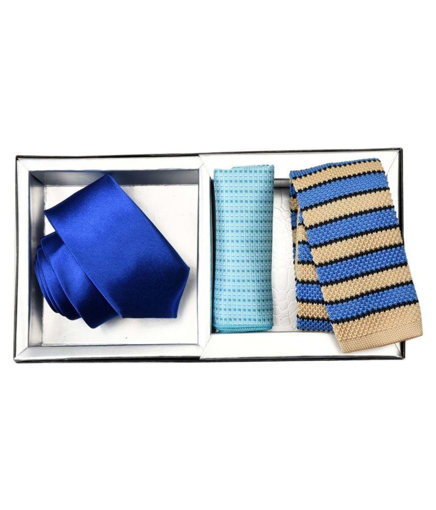 Tiekart Blue Casual Necktie-Pack of 3