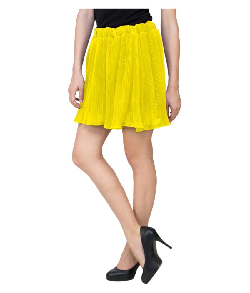Curvyy Yellow Polyester A-Line Skirt
