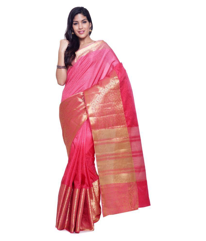Sudarshan Silks Pink Raw Silk Saree