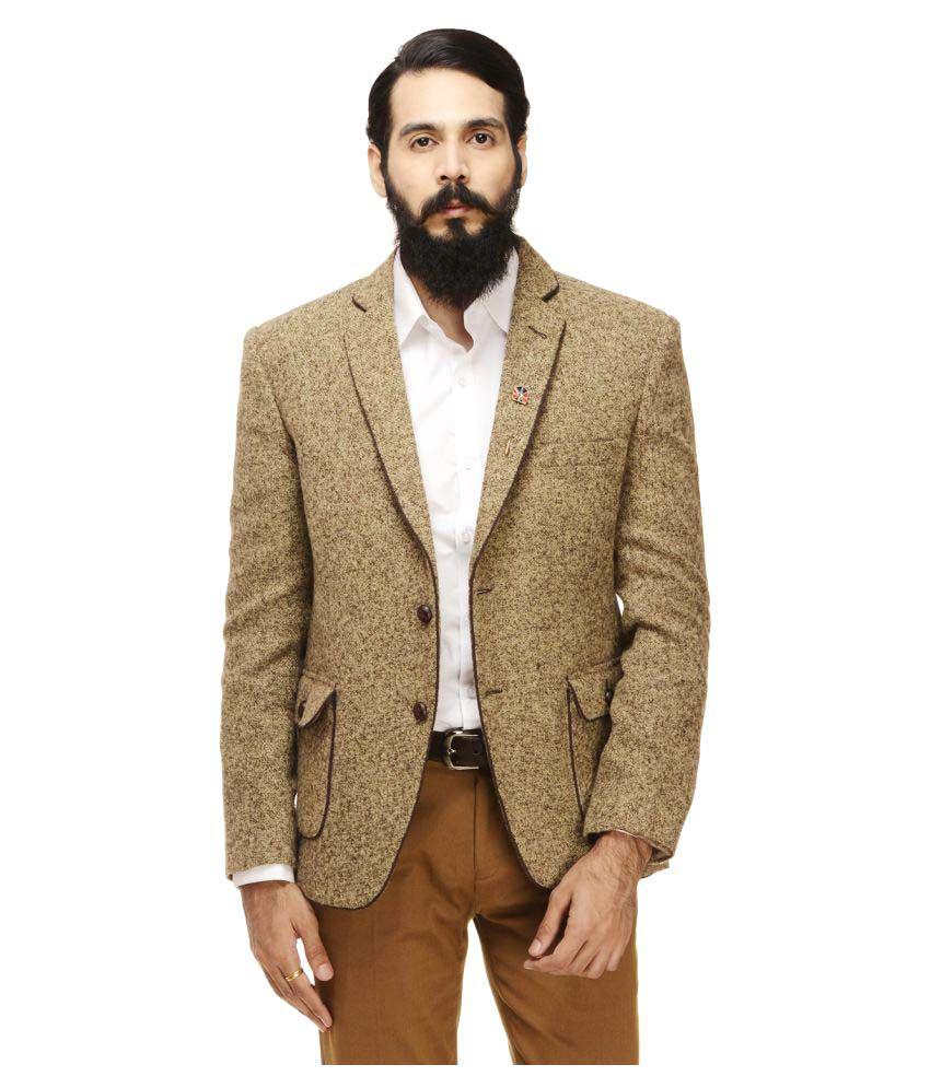 Monteil & Munero Khaki Self Design Casual Blazers
