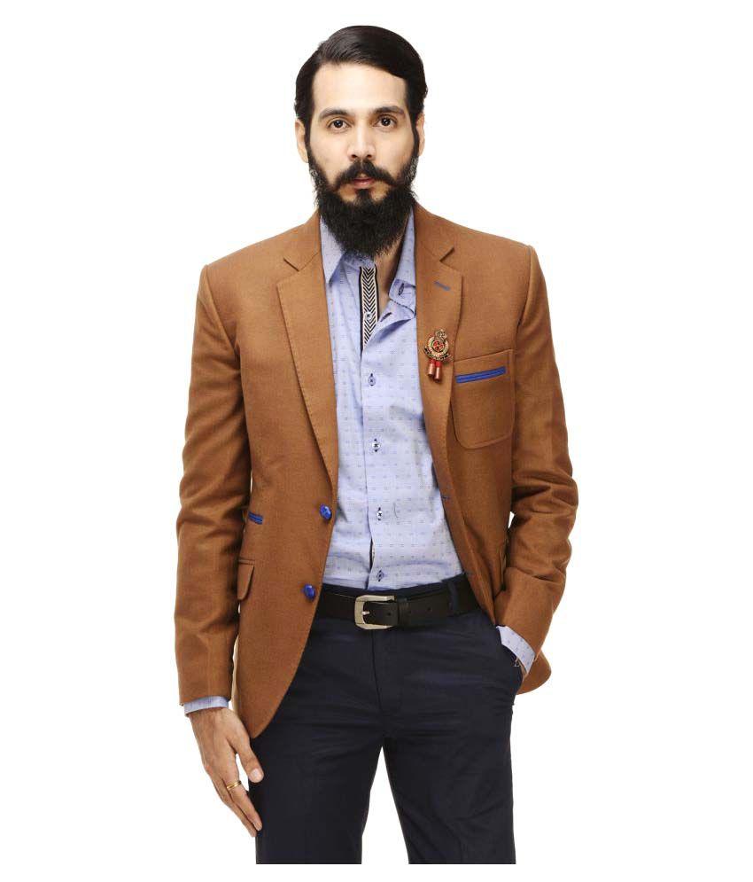 Monteil & Munero Khaki Solid Casual Blazers