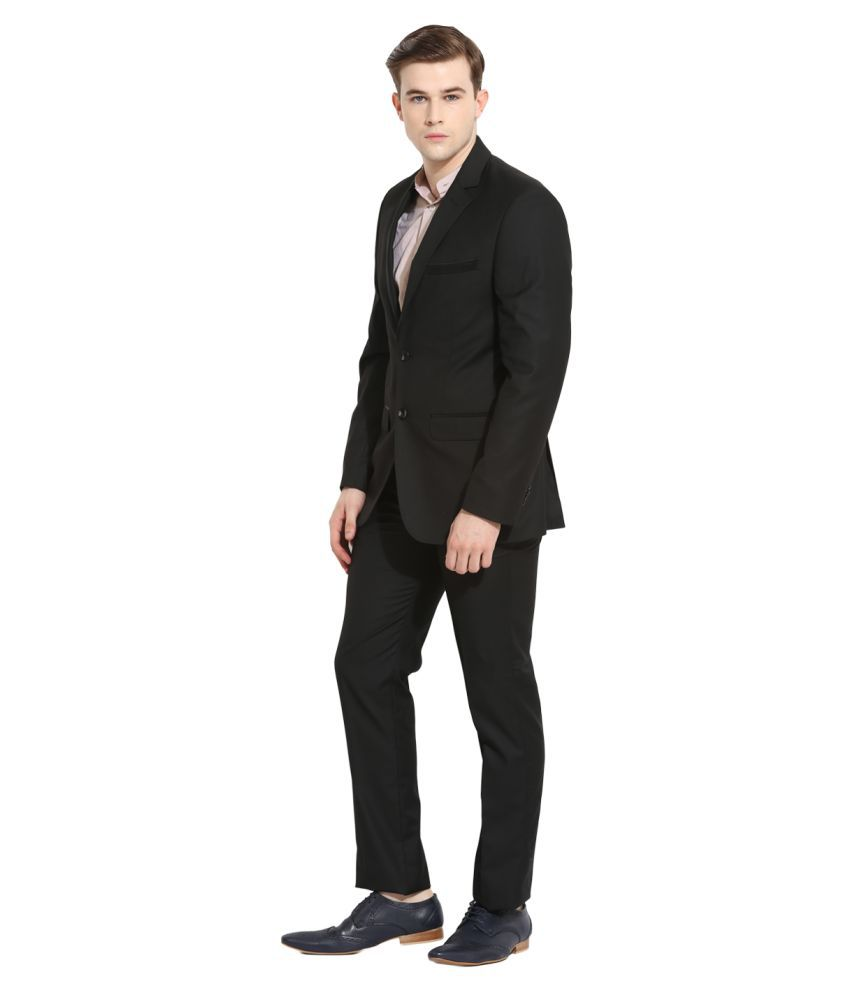 Envoy Black Solid Casual Suit