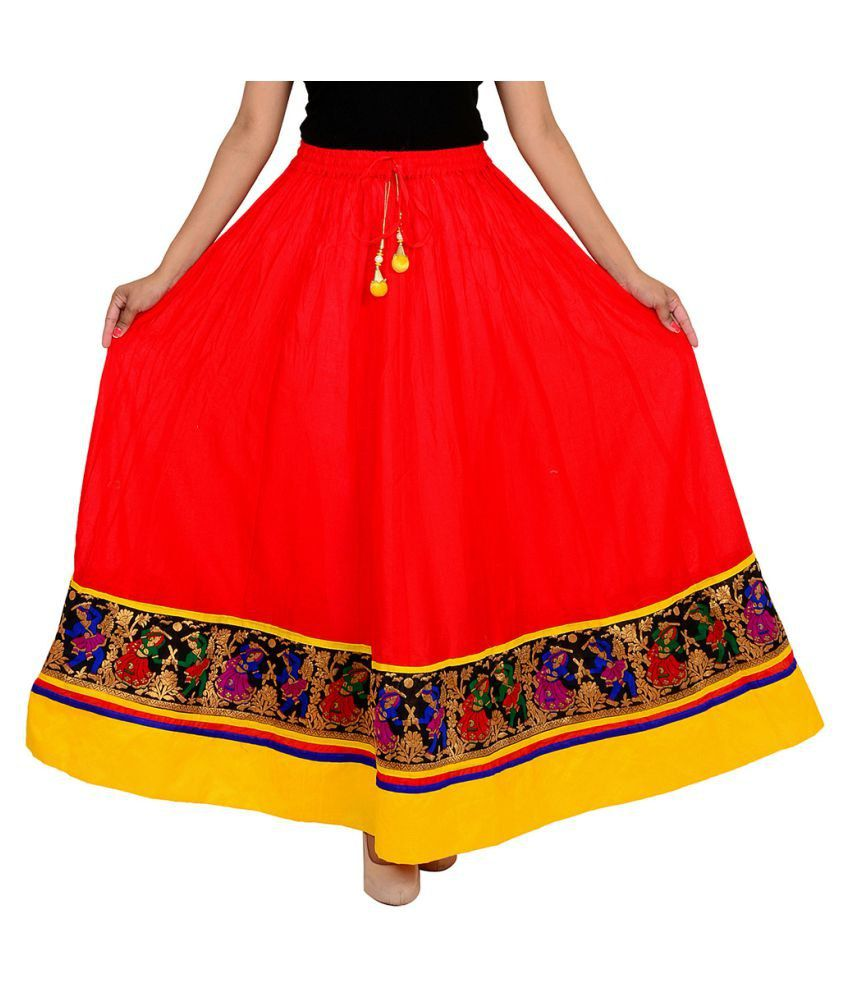 a8d14fb04142 Buy Home Shop Gift Red Cotton A-Line Skirt Online at Best Prices in India -  Snapdeal