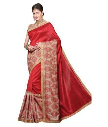 La'ethnic Red Art Silk Saree