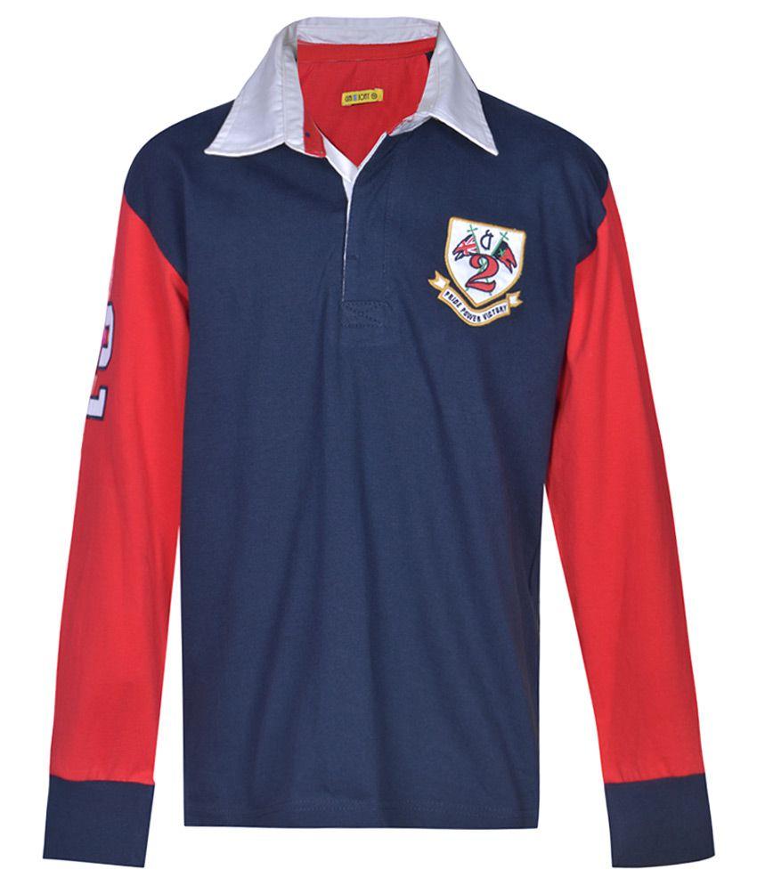 Gini & Jony Blue Regular Fit Polo T-Shirt