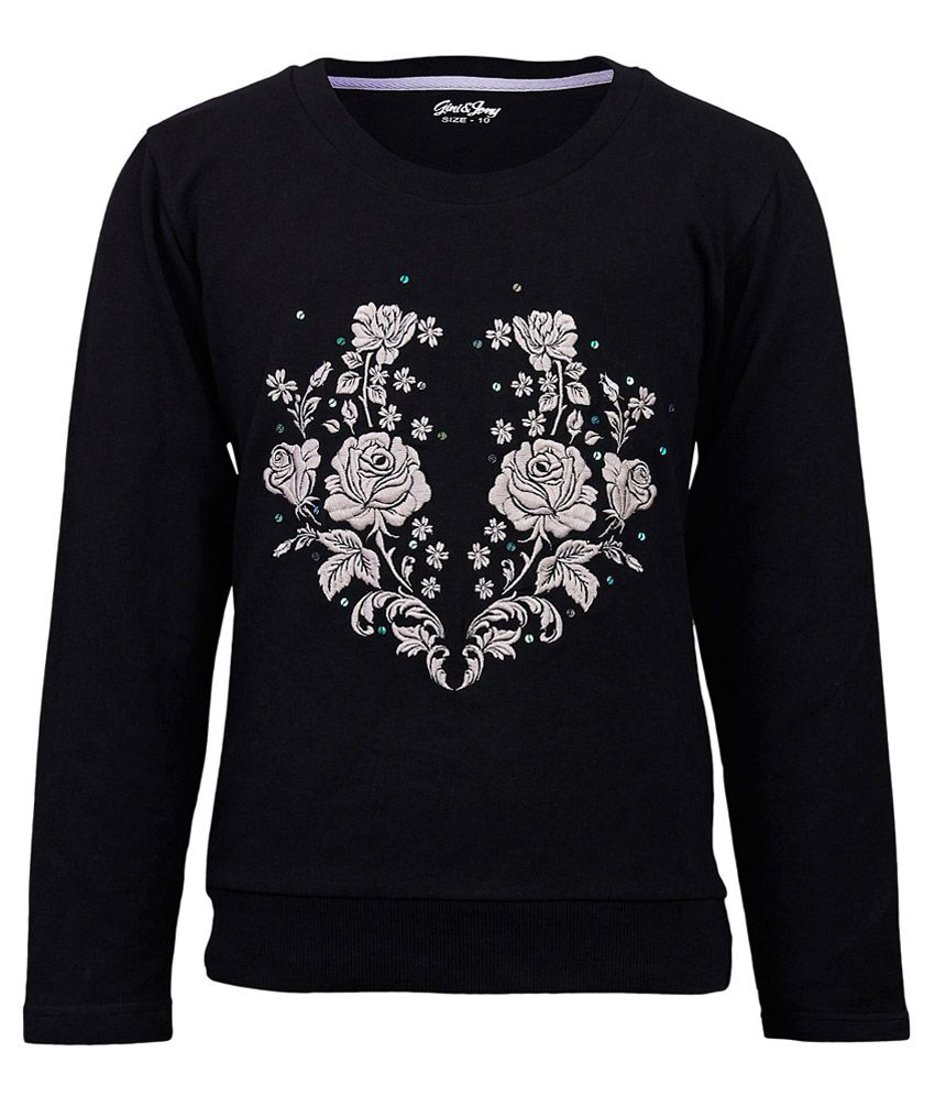 Gini & Jony Gray Floral Printed Regular Fit Sweatshirt