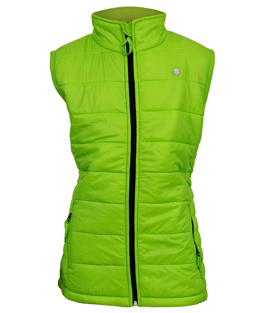 Gini & Jony Green Solid Regular Fit High Neck Jacket