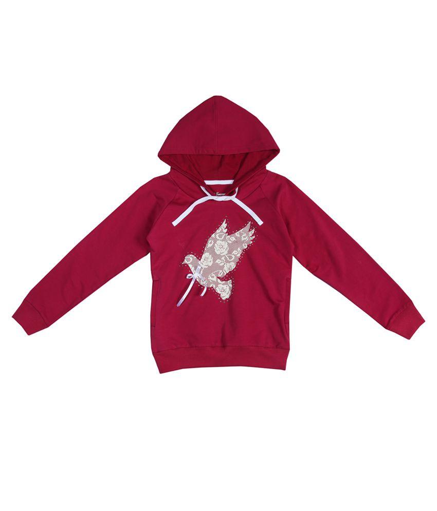Gini & Jony Pink Embellished Regular Fit Hooded Sweatshirt