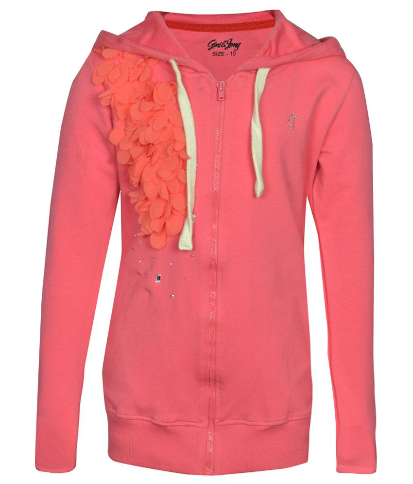 Gini & Jony Pink Embellished Regular Fit Hooded Jacket