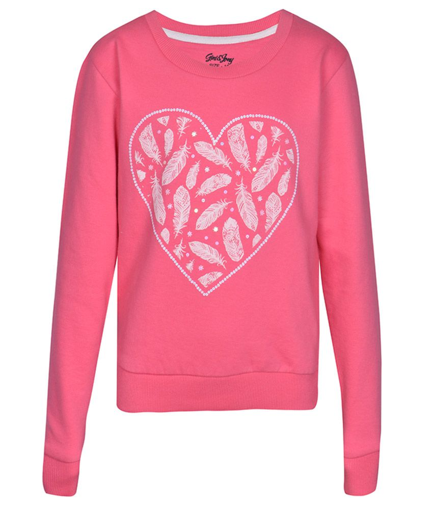 Gini & Jony Pink Printed Regular Fit Sweatshirt