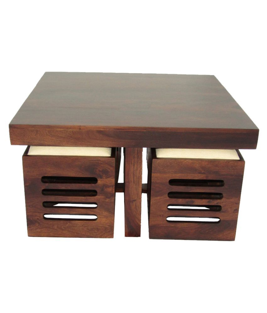 woodfaber 4 seater coffee table stool set buy woodfaber 4 seater rh snapdeal com