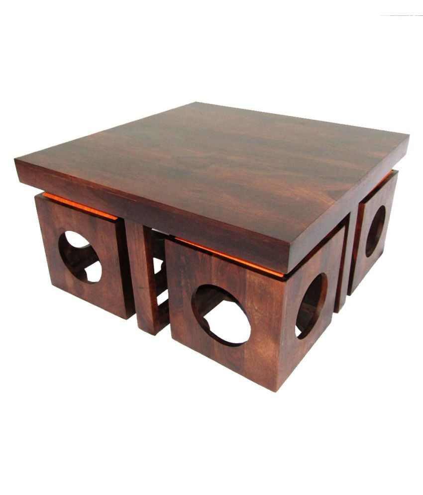 WoodFaber 4 Seater Coffee Table Stool Set